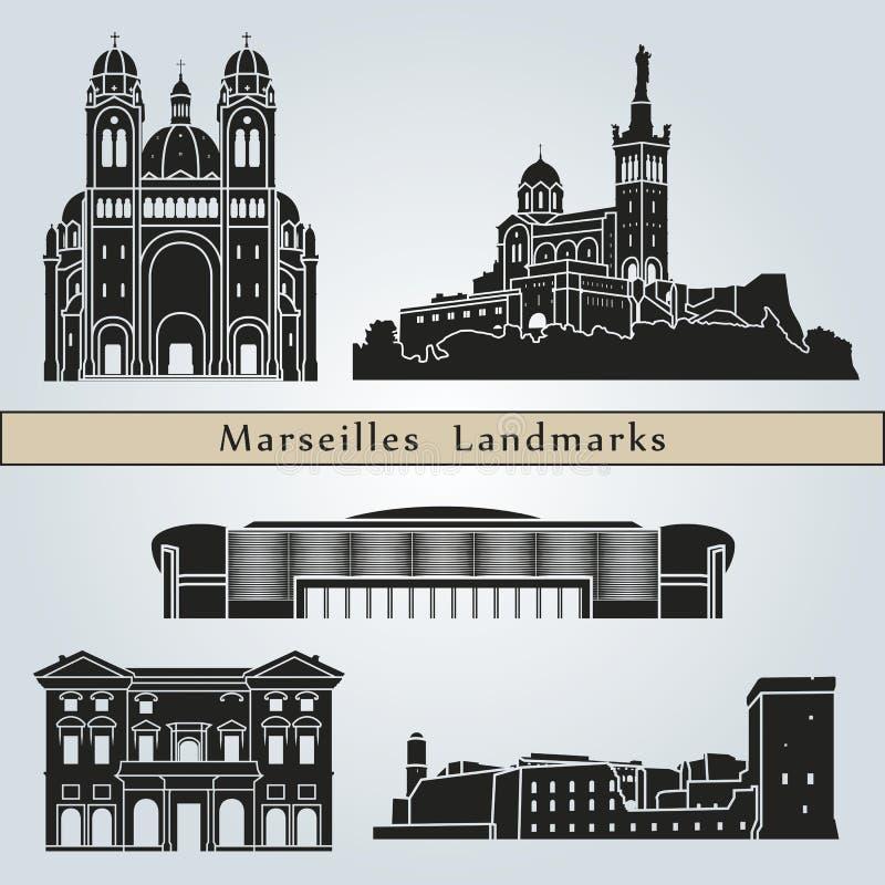 Points de repère et monuments de Marseille illustration libre de droits