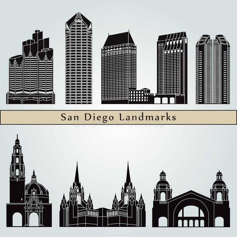 Points de repère et monuments de San Diego illustration libre de droits