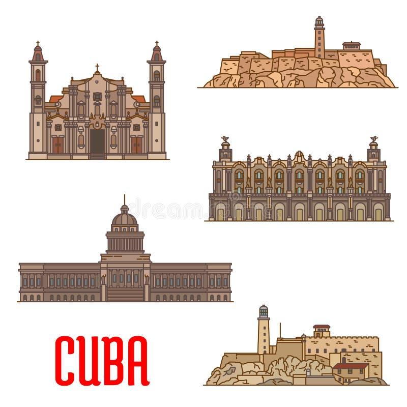 Points de repère et sightseeings du Cuba illustration stock