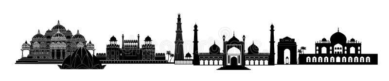Points de repère de l'Inde, Delhi Vue d'horizon de voyage de la Nouvelle Delhi de ville indienne illustration stock
