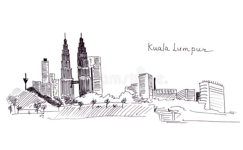 Points de repère Malaisie de croquis d'illustration : le bâtiment principal et le Towersr jumeau illustration stock