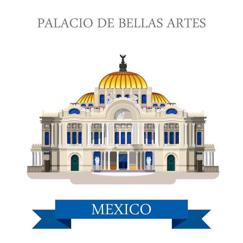 Points de repère plats d'attraction de vecteur de Palacio De Bellas Artes Mexique illustration stock