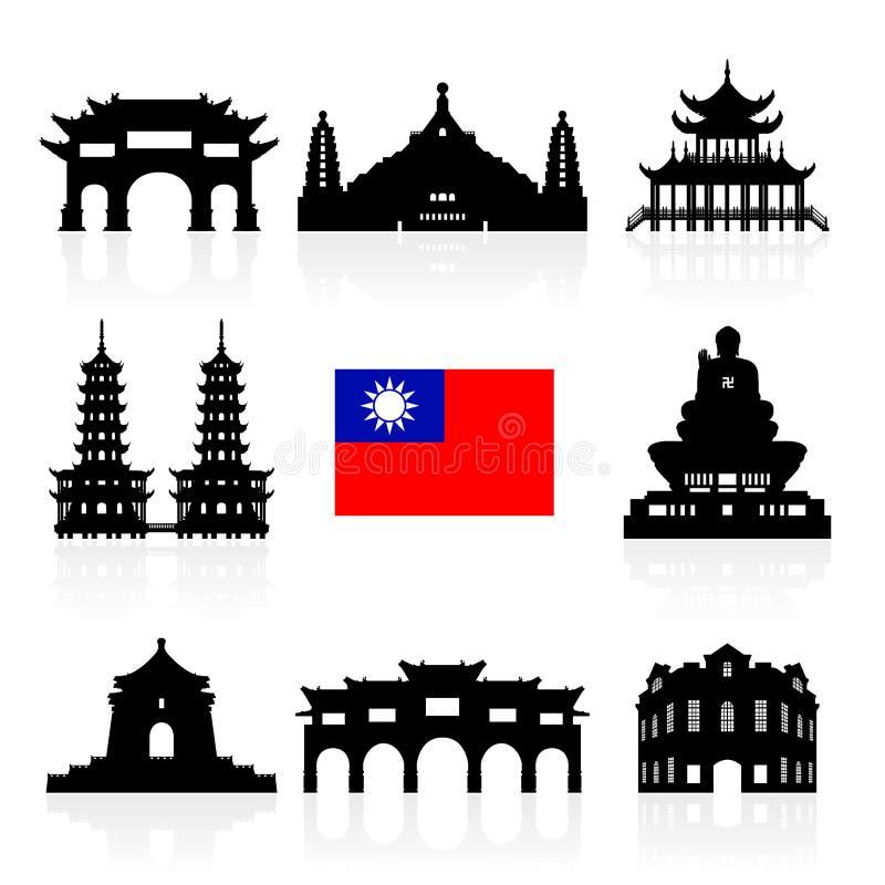 Points de repère de voyage d'icône de Taïwan illustration de vecteur