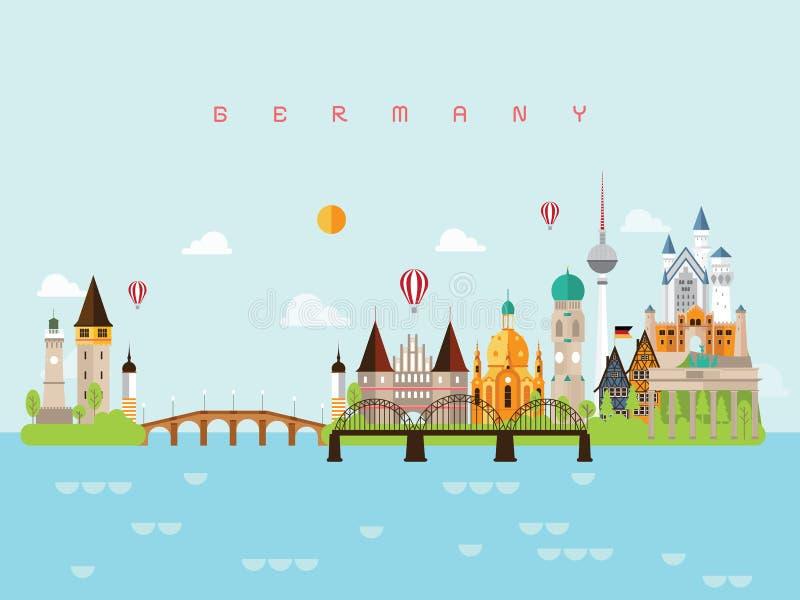 Points de repère voyage de l'Allemagne et vecteur de voyage illustration libre de droits