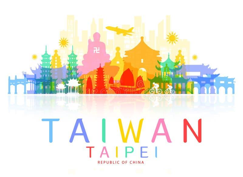 Points de repère de voyage de Taïwan illustration stock