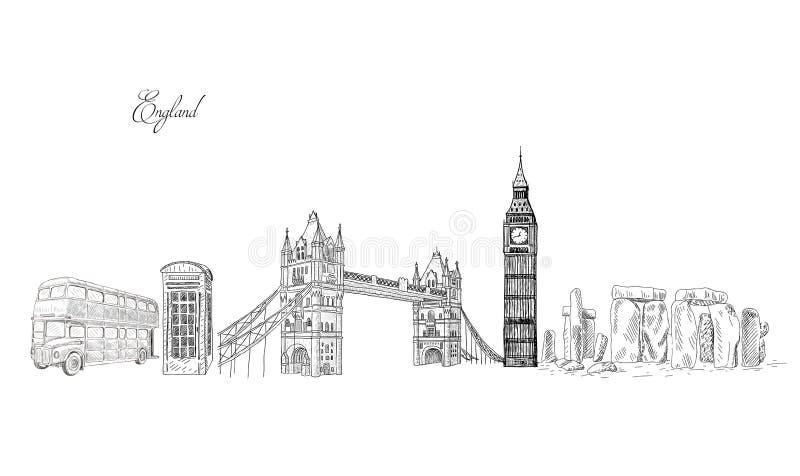 Points de repère de voyage de ville, attraction touristique dans divers endroits de l'Angleterre illustration de vecteur