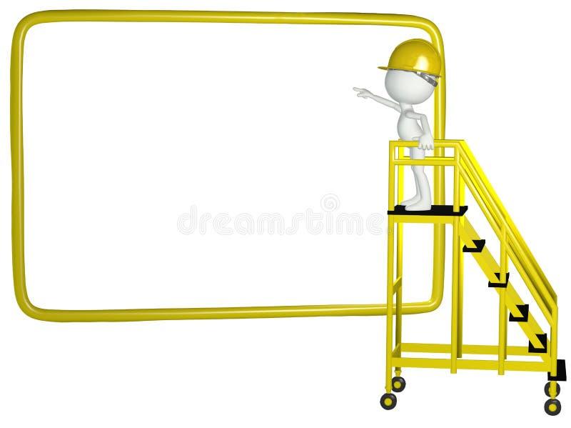 Points de travailleur de la construction au signe 3D illustration stock