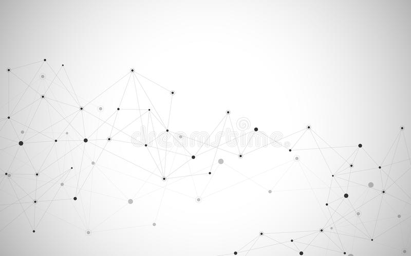 Points et lignes se reliants abstraits Fond de la science et technologie de connexion Illustration de vecteur illustration stock