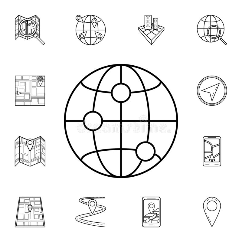 Points on the globe icon. Detailed set of navigation icons. Premium graphic design. One of the collection icons for websites, web. Design, mobile app on white stock illustration