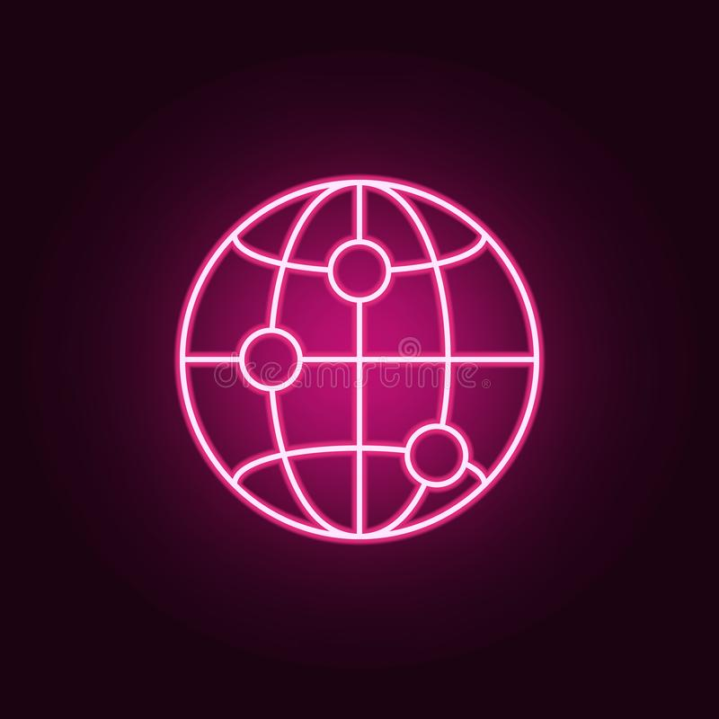 Points on the globe neon icon. Elements of Navigation set. Simple icon for websites, web design, mobile app, info graphics. On dark gradient background stock illustration