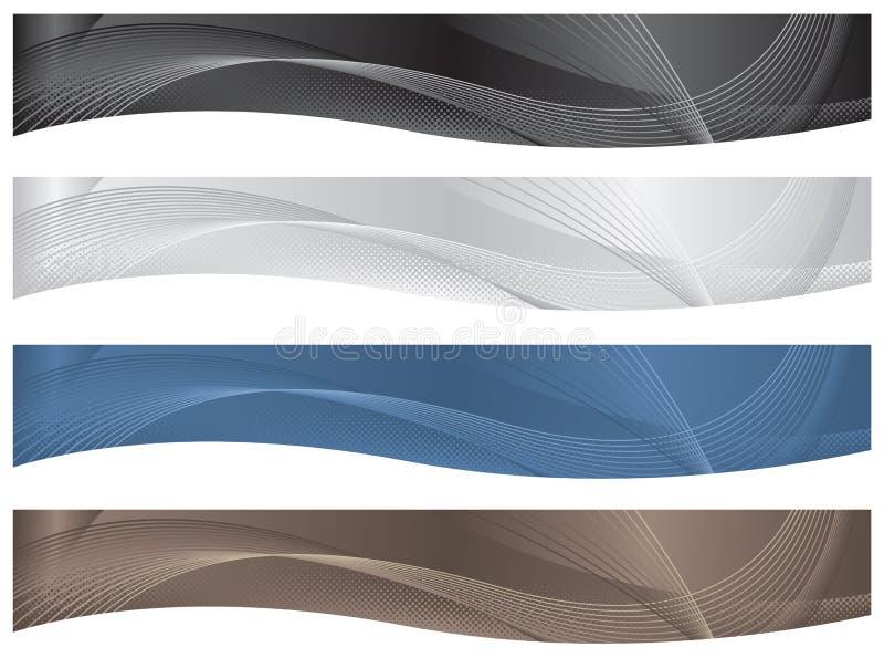 points morts d'en-têtes de drapeaux ondulés illustration de vecteur