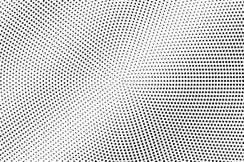 Points noirs sur le fond blanc Surface perforée abstraite Texture tramée fanée de vecteur Petit gradient de dotwork illustration stock