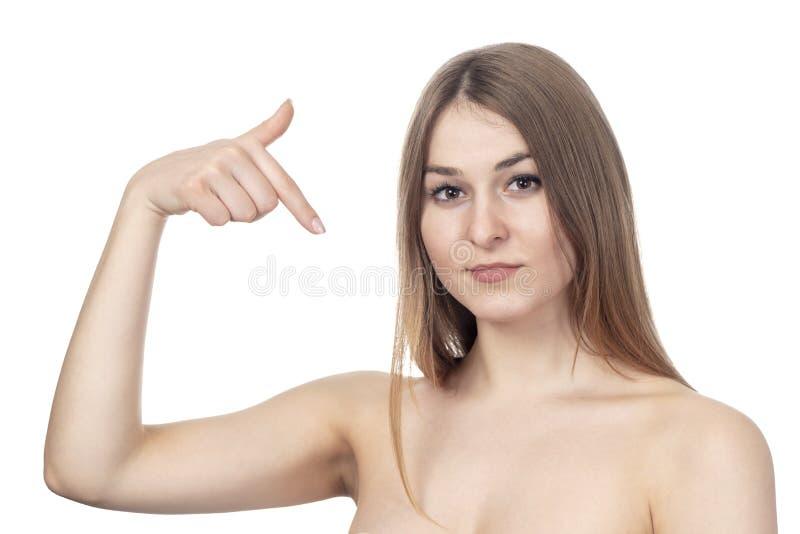 Points sexy de femme à elle-même image stock