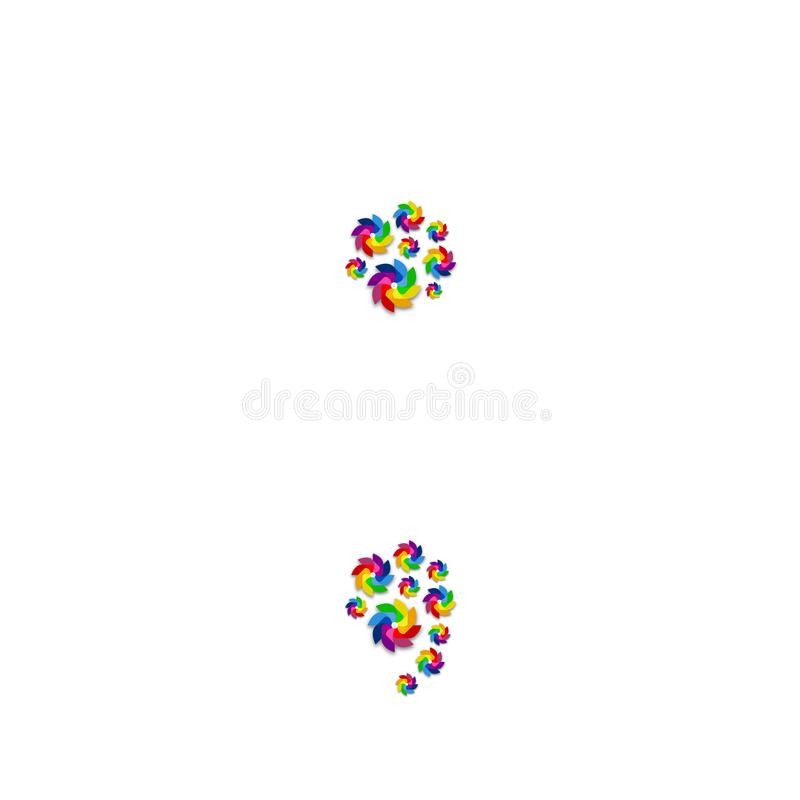 Points-virgules de ponctuation de lettre d'ensemble d'alphabet, modèle de papier de turbine, illustration renouvelable de concept illustration de vecteur
