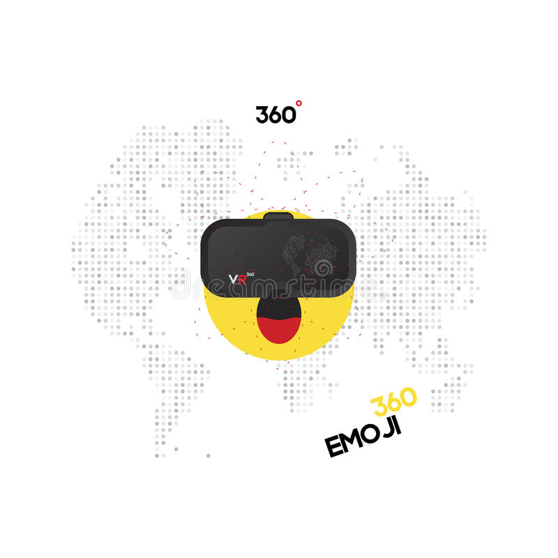 Points for virtual reality for a smartphone are dressed in a smiley face. VR on a background of a digital map of the world. Flat v stock illustration