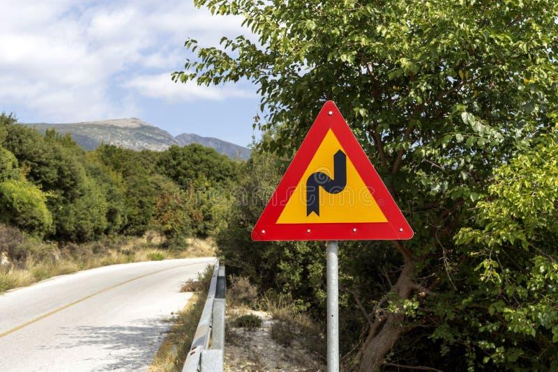 ` Pointu de tour du ` A de panneau routier photo libre de droits