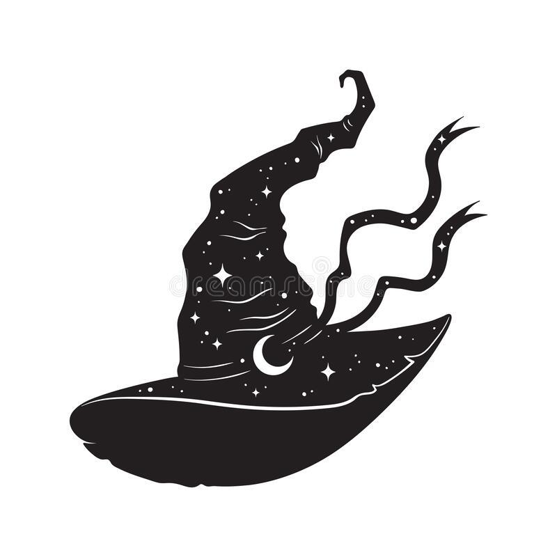 Free Pointy Witch Hat With Crescent Moon And Stars Hand Drawn Line Art And Dotwork. Boho Chic Poster, Flash Tattoo Or Altar Veil Print Royalty Free Stock Image - 212982016