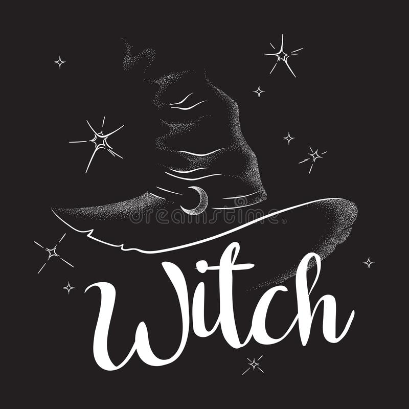 Free Pointy Witch Hat With Crescent Moon Hand Drawn Line Art And Dotwork. Boho Chic Poster, Flash Tattoo Or Altar Veil Print Design Royalty Free Stock Images - 137197099