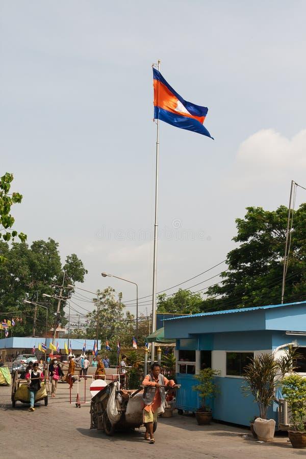 Poipet. Καμποτζιανός-ταϊλανδικά σύνορα στοκ φωτογραφία με δικαίωμα ελεύθερης χρήσης
