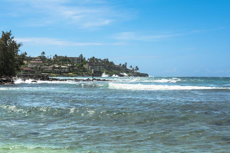 Poipu海滩,考艾岛,夏威夷 图库摄影