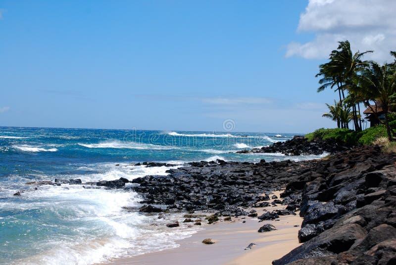 Poipu strand arkivfoton