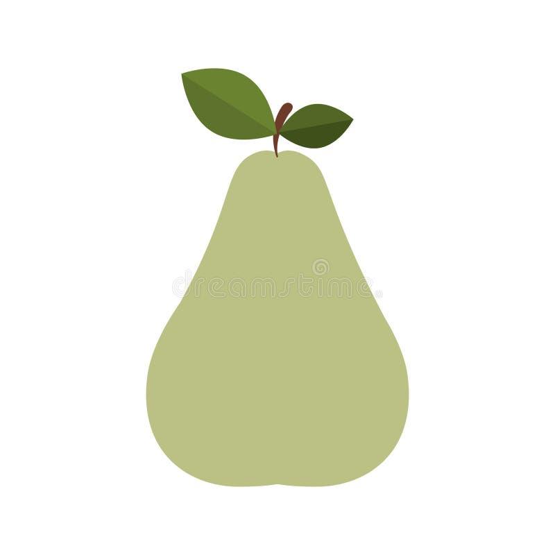 poire colorée de silhouette de tige et de feuilles illustration libre de droits