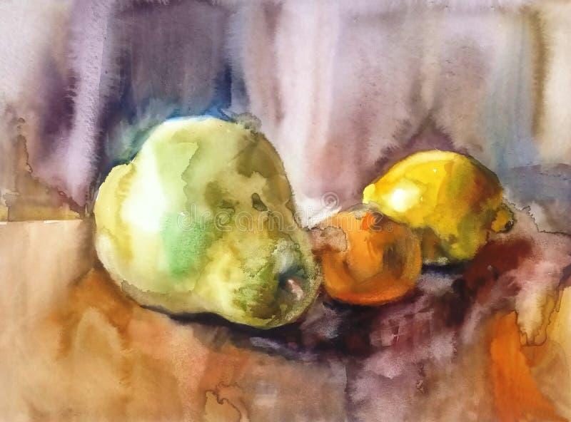 Poire, mandarine et citron juteux illustration stock