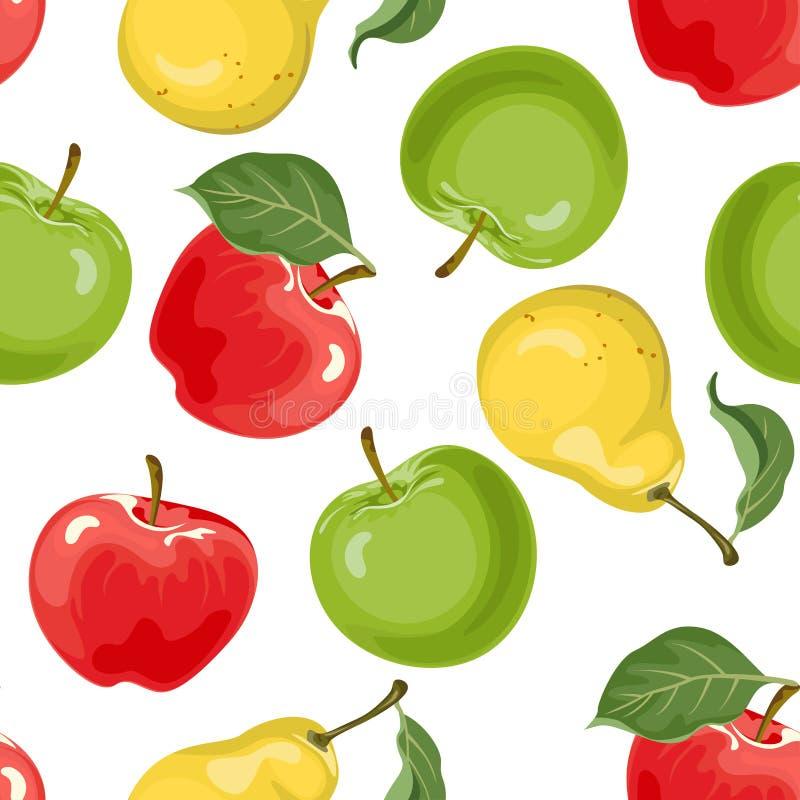 Poire, modèle sans couture de pommes Illustration de vecteur de nourriture dans le style plat simple de bande dessin?e illustration stock
