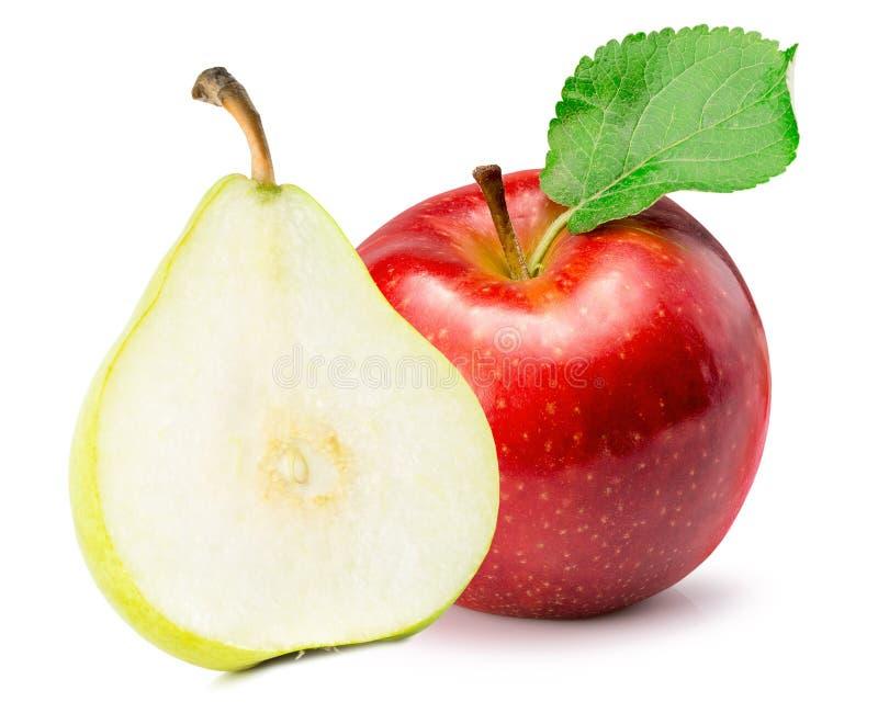 Poire rouge de pomme et de vert sur un fond blanc photographie stock