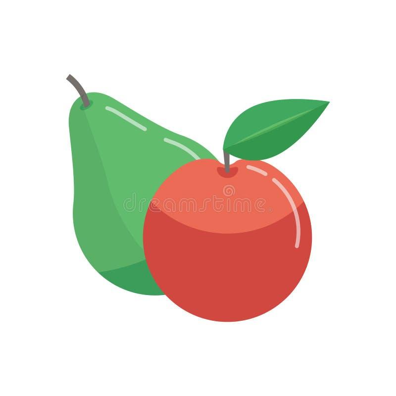 Poire verte et pomme rouge illustration stock