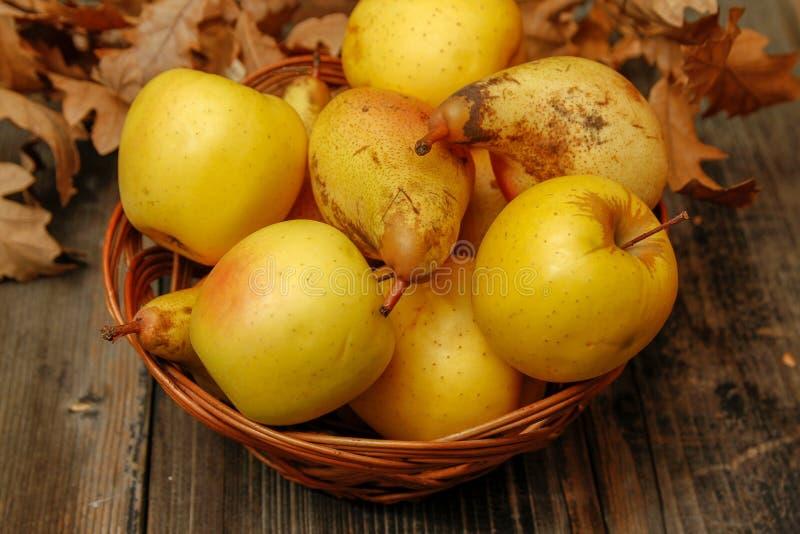 Poires et pommes organiques crues fraîches photo libre de droits