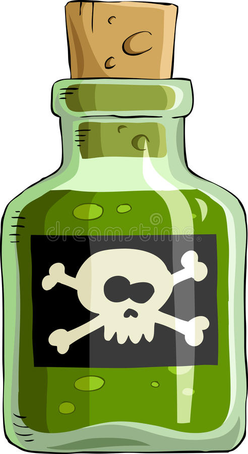 Poison. Bottle of poison on a white background, vector