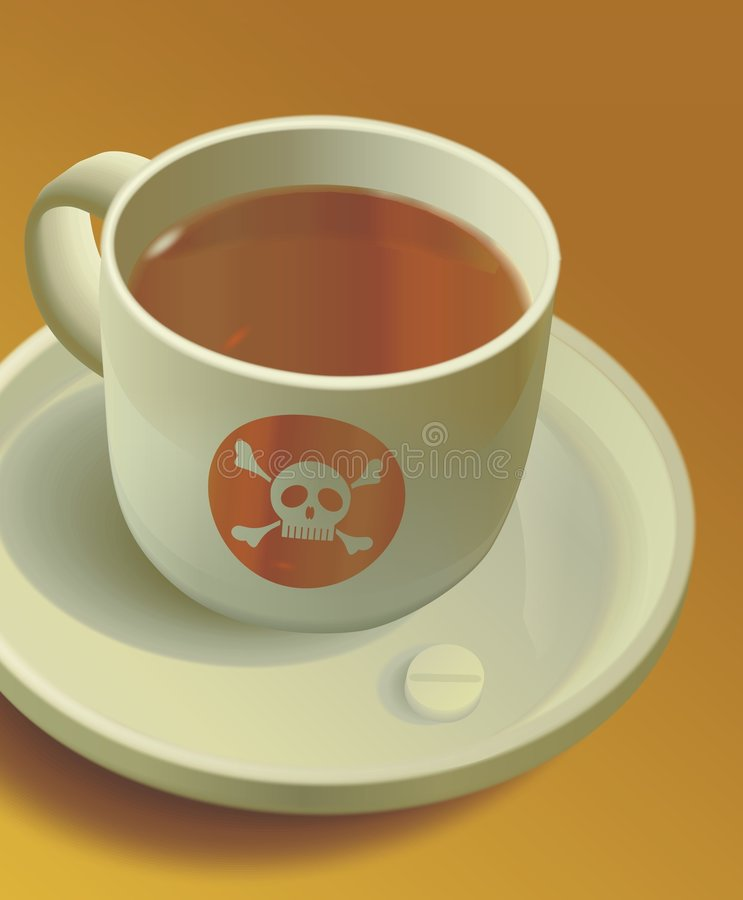 Poison. In cup of tea. Vector illustration vector illustration