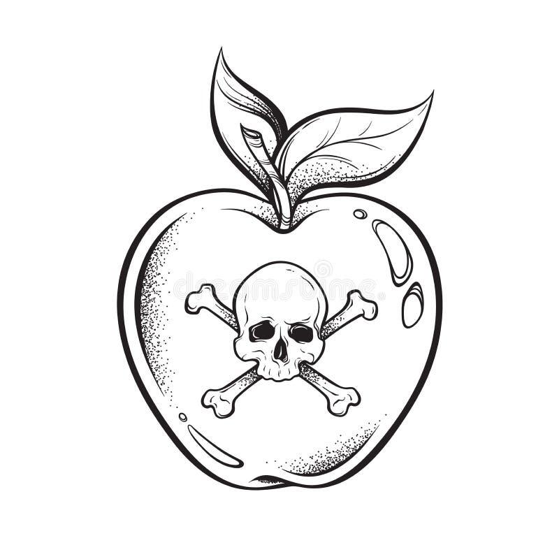 Poison apple line art and dot work hand drawn vector illustration. Boho style sticker, patch, print or blackwork flash tattoo desi. Gn stock illustration