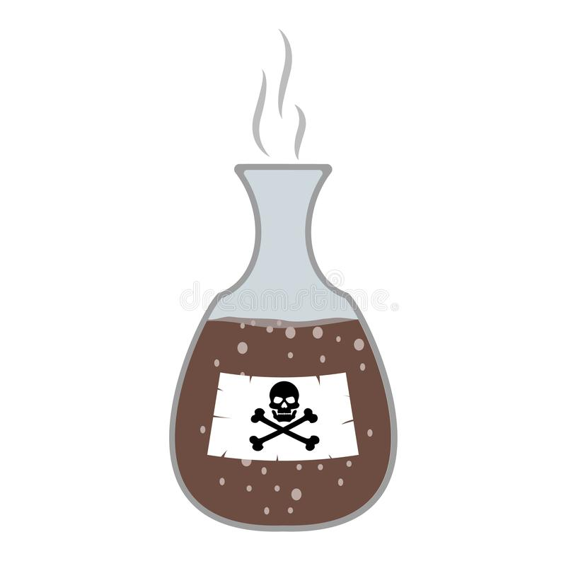 Poison in the bottle, flask with skull and bones, cartoon. Toxic hazardous substances, flat style. Vector isolated background. royalty free illustration