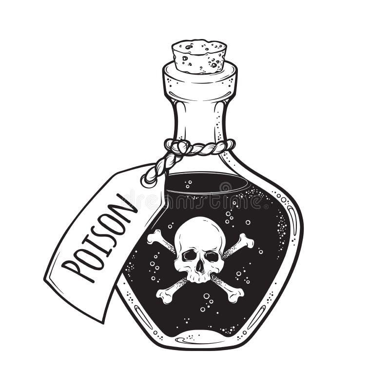 Poison in bottle line art and dot work hand drawn vector illustration. Boho style sticker, patch, print or blackwork flash tattoo. Design royalty free illustration