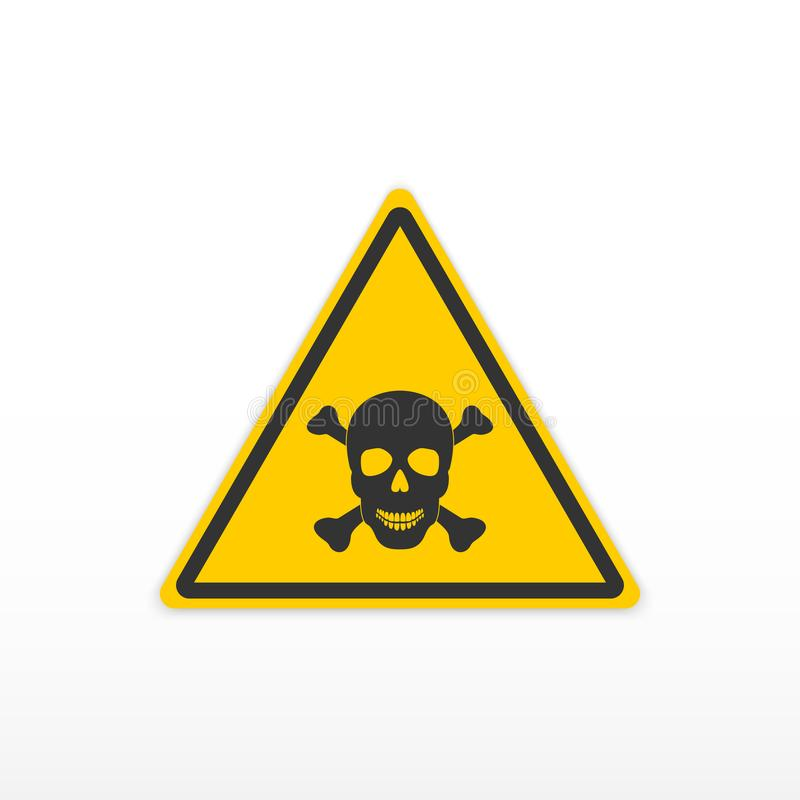 Poison de signe Signe toxique de danger Crâne et os Graphisme sur le fond blanc illustration stock
