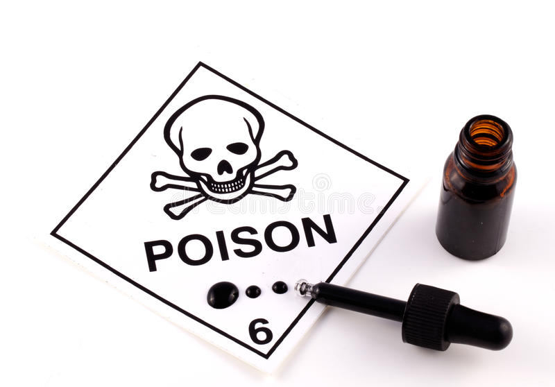 Poison With Eyedropper. And black liquid on white background royalty free stock photo