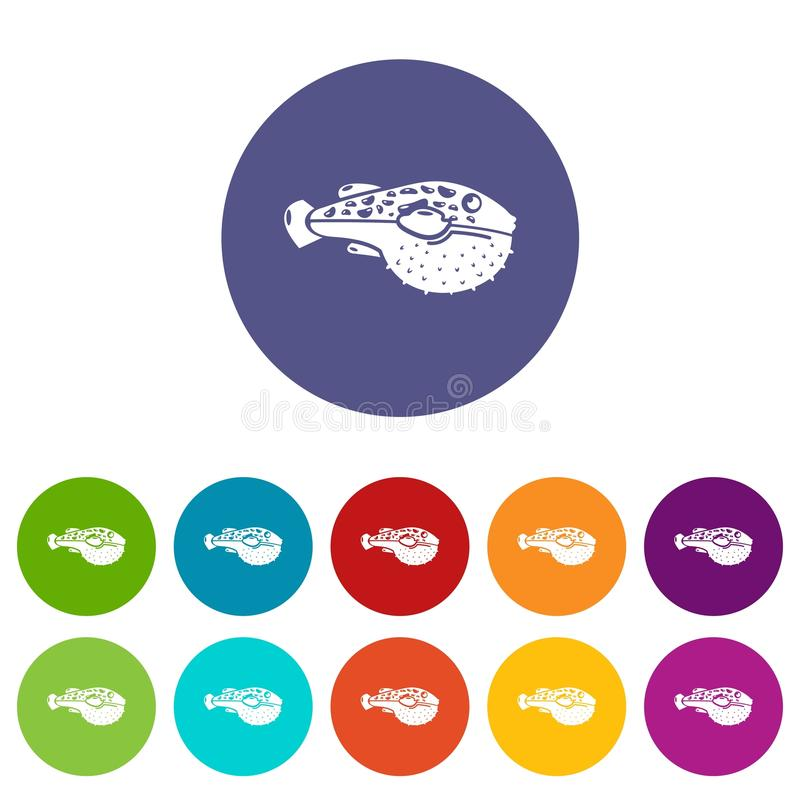 Poison fish icon, simple style royalty free illustration