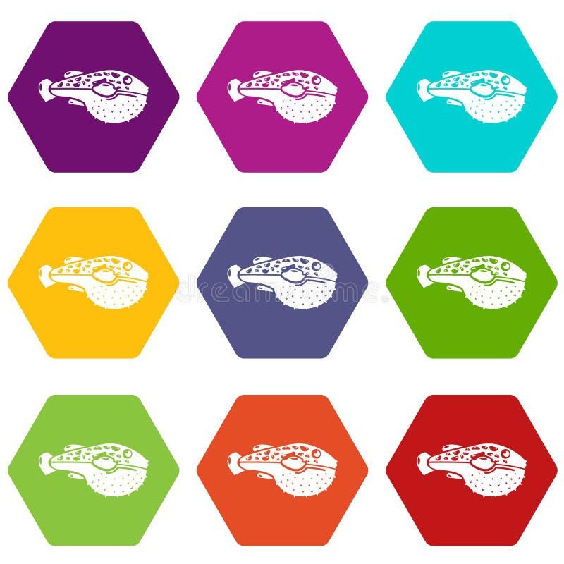 Poison fish icons set 9 vector royalty free illustration