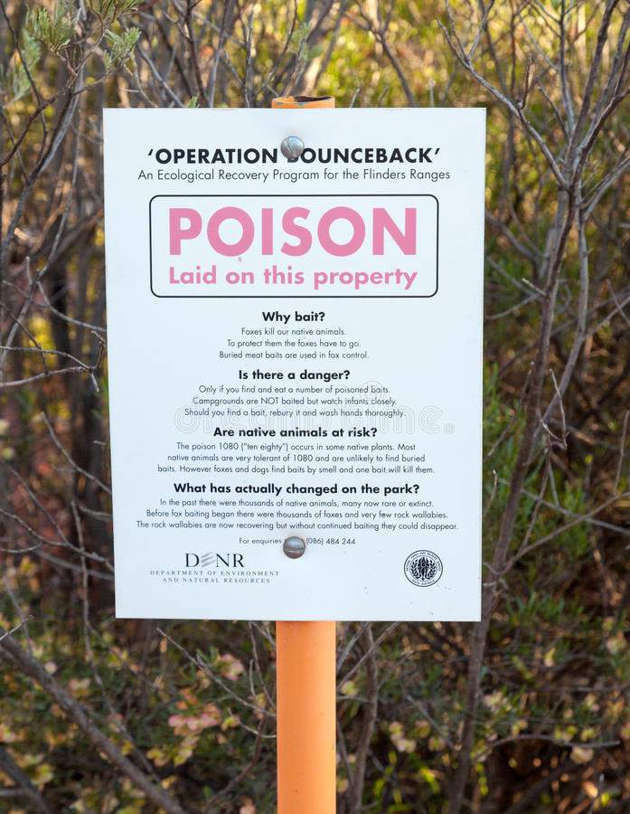 Poison safety sign. Flinders ranges australia royalty free stock photography