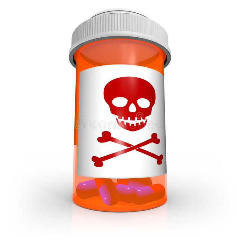 Poison Skull and Crossbones Medicine Bottle. An orange prescription medicine bottle containing blue and red capsule pills and the skull and crossbones warning vector illustration