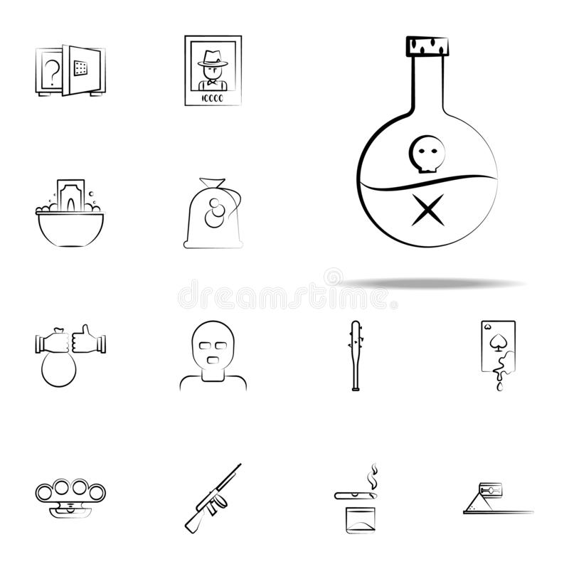 poison, skull gang, criminal icon. mafia icons universal set for web and mobile royalty free illustration