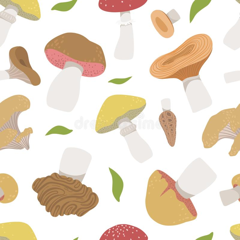 Poisonous and Edible Mushrooms Seamless Pattern, Vegetarian Organic Natural Food Design Element Can Be Used for stock illustration