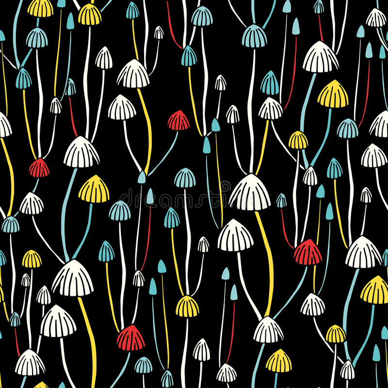Poisonous mushrooms seamless hand drawn pattern. royalty free stock images