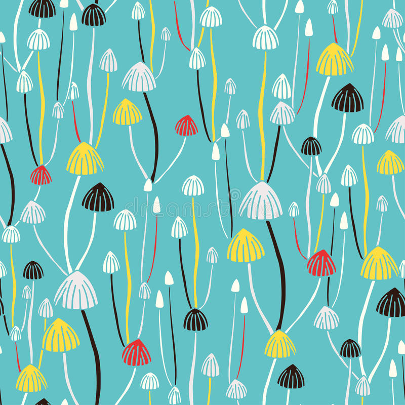 Poisonous mushrooms seamless hand drawn pattern royalty free stock images