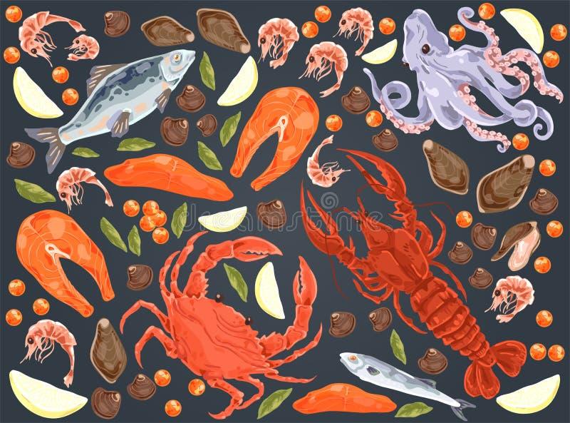 Poisson cru, filet saumoné, poulpe, moules, dîner gastronomique, homard, crabe, crevettes, morceaux de citron, ensemble délicieux illustration libre de droits