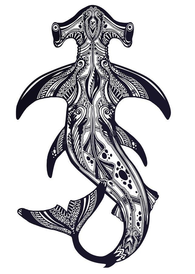 Poisson de mer dangereux sauvage tribal fortement détaillé de requin de poisson-marteau dans le style polynésien indigène illustration de vecteur