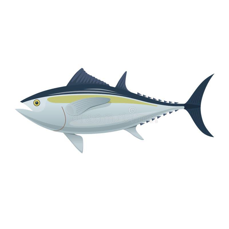 Poisson de mer Poissons colorés de thon de mer Poissons, mangeant, menu illustration stock