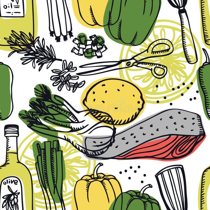 Poisson frais délicieux de collection de nourriture avec le modèle sans couture d'échalote, de citron et de poivron doux illustration stock